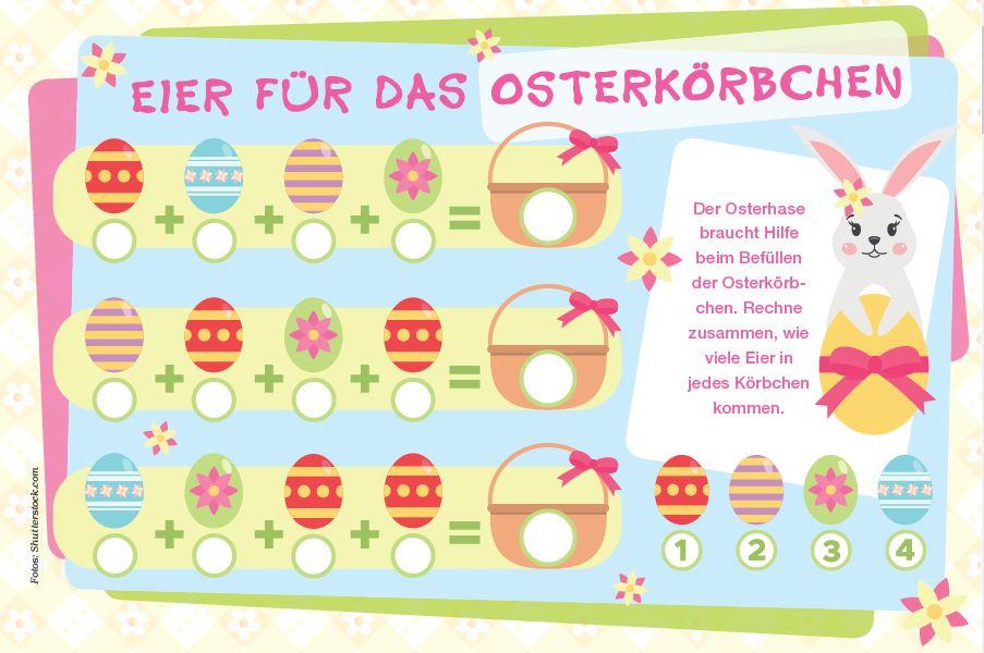 Die Osterkörbchen müssen noch gefüllt werden - doch wie viele Eier gehören in welches Körbchen?